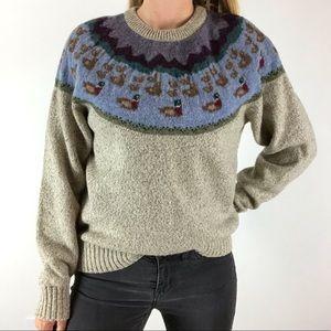 VINTAGE Eddie Bauer Duck Print Pullover Sweater L